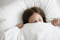 Little Girl Sleeping In Bed Stock Images