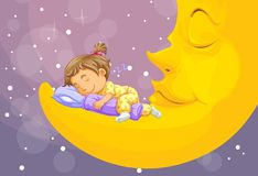 Little girl sleeping on the moon stock photos
