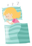 Little girl sleeping on pillow. Illustration Stock Images