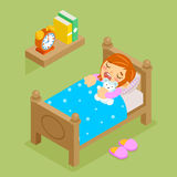 Little girl sleeping with teddy bear. Isometric Royalty Free Stock Photo