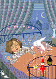 Little girl sleeping. A little girl sleeping with a white toy rabbit, in her bedroom at night, raster illustration Royalty Free Stock Photography