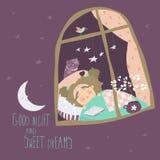 Little girl sleeping by the window. Vector illustration vector illustration