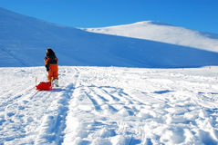 Little girl with sleigh. Preparing to come down the slope Stock Photo