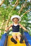 Little Girl on Slide Royalty Free Stock Photos