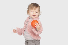 Little girl with small ball Stock Photography
