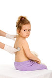 Little girl with small pox at the doctors Stock Image