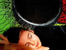 Little girl. Small woman sleeping on her blanket Royalty Free Stock Image