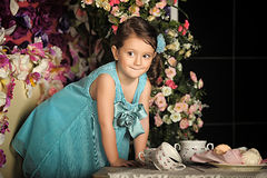 Little girl in a smart dress Stock Images