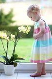 Little girl smelling beautiful flowers Royalty Free Stock Photography