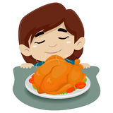 Little Girl Smelling the Chicken on the Table. Vector Illustration of Little Girl Smelling the Chicken on the Table Stock Image