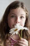 Little girl smelling daisies Stock Photos