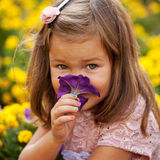 Little girl smelling flower close up. Stock Photography