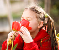 Little girl smelling flowers outdoors Royalty Free Stock Photography