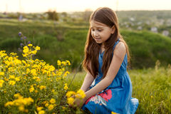 Little girl smelling a yellow flower Royalty Free Stock Images