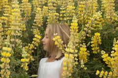 Little girl smelling yellow spring wildflowers Stock Photos