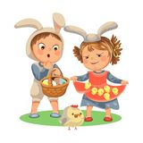 Little girl smile holding in her dress chickens, baby in apron with rabbit ears headband, happy boy easter bunny mask. For costume holding basket for hunting Royalty Free Stock Image
