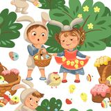 Seamless pattern girl holding in her dress chickens, baby in apron with rabbit ears headband, happy boy easter bunny. Little girl smile holding in her dress Stock Photography
