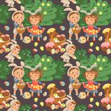 Seamless pattern girl holding in her dress chickens, baby in apron with rabbit ears headband, happy boy easter bunny. Little girl smile holding in her dress Stock Photos