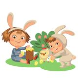 Little girl smile playing with chickens under flowers bush, baby in apron with rabbit ears headband, easter bunny mask. For costume vector illustration, spring Stock Photos