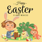 Little girl smile playing with chickens under flowers bush, baby in apron with rabbit ears headband, easter bunny mask. For costume vector illustration, spring Royalty Free Stock Images