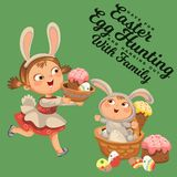 Little girl smile running hunting decorative chocolate egg in easter bunny costume ears and tail vector illustration. Spring holiday fun isolated on white Royalty Free Stock Photography