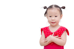 Little girl smiles over white Royalty Free Stock Images