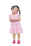 Little girl smiles over white Royalty Free Stock Photography