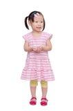 Little girl smiles over white Royalty Free Stock Photos
