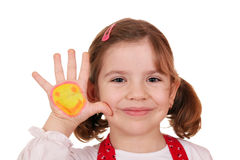 Little girl with smiley on hand portrait Stock Images