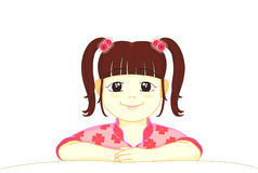 A little girl smiling. With hair tie up two side royalty free illustration