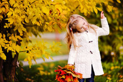 Little girl  smiling at autumn park Royalty Free Stock Photography