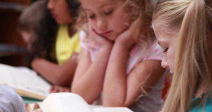 Little girl smiling at camera during library time. In elementary school stock video footage