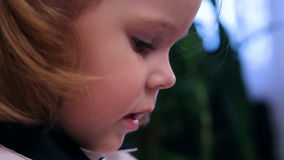 Little girl smiling closeup stock video footage