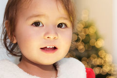 Little girl smiling in front of her Christmas tree Stock Image