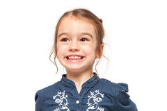 Little Girl Smiling with Funny Expression Stock Images