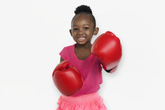 Little Girl Smiling Happiness Boxing Sport Activity Stock Image