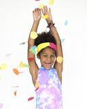 Little Girl Smiling Happiness Celebration Arms Raised Portrait Stock Image
