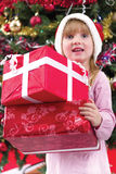 Little girl smiling with present near the Christmas tree Stock Photos