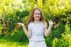 Little girl  smiling and show white teeth. Royalty Free Stock Photo