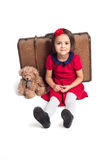 Little Girl smiling with suitcase and toy bear. Beautiful little Girl smiling with suitcase and toy bear Stock Photography