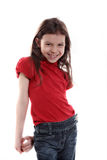 Little girl smiling. On white background royalty free stock photos