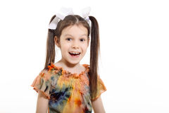 Little girl smiling. On white background stock images