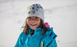 Little Girl Smiling In Winter Stock Photography
