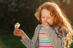 Little girl with sneezing and allergy because of spring flowers. Outdoors. Medical concept Stock Image