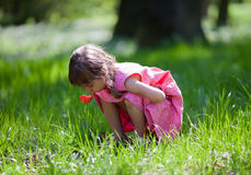 Little girl sniffing flower Royalty Free Stock Images