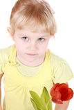 Little girl sniffing tulip portrait Royalty Free Stock Photos