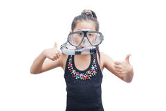 Little girl in snorkel mask. Stock Photo