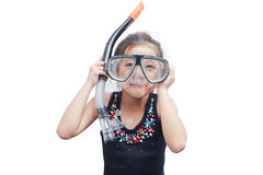 Little girl in snorkel mask. Royalty Free Stock Photography