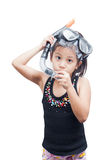 Little girl in snorkel mask. Royalty Free Stock Images