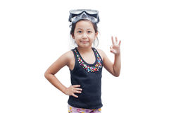 Little girl in snorkel mask. Stock Photography
